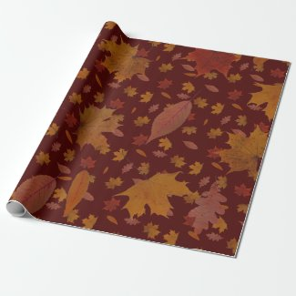 Golden Autumn Leaves on Wine Red Custom Color