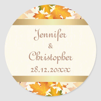 Golden Autumn Leaves Wedding Classic Round Sticker