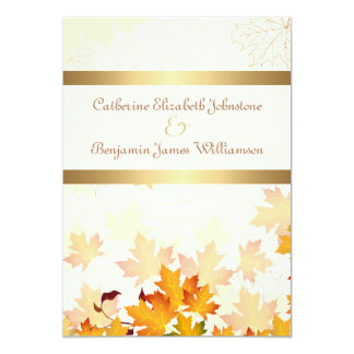 Golden Autumn Leaves Wedding 5x7 Paper Invitation Card