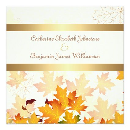 Golden Autumn Leaves Wedding 5.25x5.25 Square Paper Invitation Card