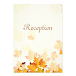 Golden Autumn Leaves Wedding Reception Card Personalized Invites