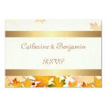 "Golden Autumn Leaves Wedding RSVP 3.5"" X 5"" Invitation Card"