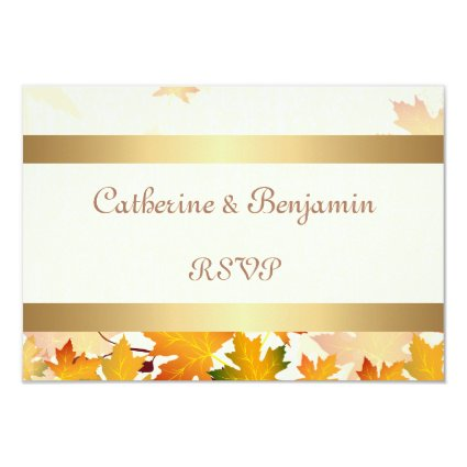 Golden Autumn Leaves Wedding RSVP 3.5x5 Paper Invitation Card