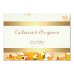 Golden Autumn Leaves Wedding RSVP Invitations