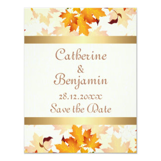 Golden Autumn Leaves Wedding Save the Date 4.25x5.5 Paper Invitation Card