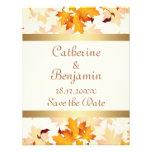 Golden Autumn Leaves Wedding Save the Date Custom Invitation