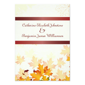 """Golden Autumn Leaves with Red Wedding 5"""" X 7"""" Invitation Card"""