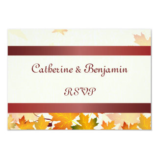 """Golden Autumn Leaves with Red Wedding RSVP 3.5"""" X 5"""" Invitation Card"""