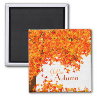 Golden Autumn Magnet - Fall Tree with Leaves