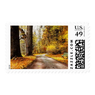 Golden Autumn, Path In Forest Stamp