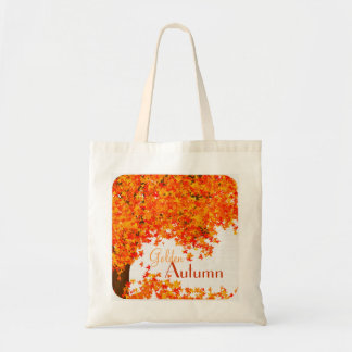 Golden Autumn Tote Bag - Tree and Leaves in Orange