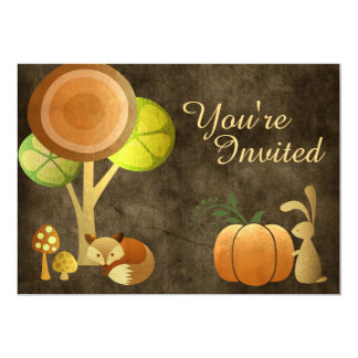 Golden Autumn Woodland Animals Birthday Invitation