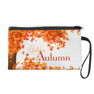 Golden Autumn Wristlet Clutch - Fall Tree & Leaves