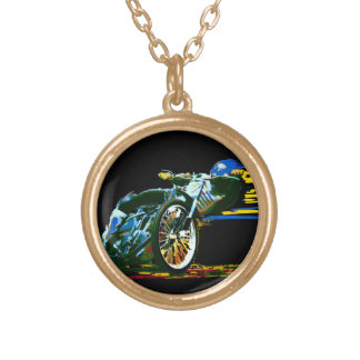 Golden Awesome Speedway Motorcycle Gold Plated Necklace