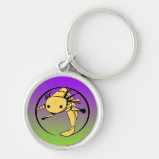 golden axolotl on purple/green bkg Silver-Colored round keychain