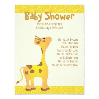 """Golden Baby Giraffe 4.25"""" X 5.5"""" Invitation Card"""