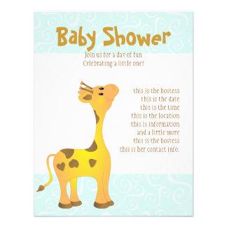 Golden Baby Giraffe Custom Invitations