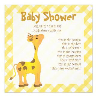 Golden Baby Giraffe Custom Invites
