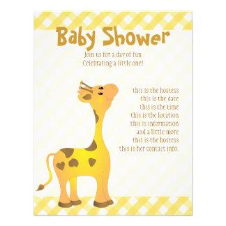 Golden Baby Giraffe Invitations