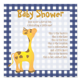 Golden Baby Giraffe Personalized Announcements