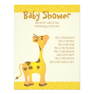 Golden Baby Giraffe Personalized Announcements
