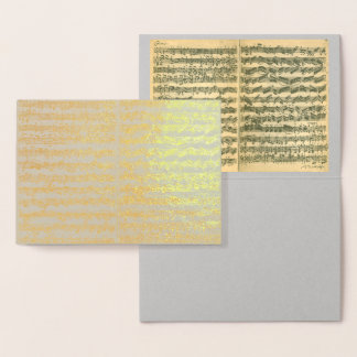 Golden Bach Chaconne Music Manuscript All Occasion Foil Card