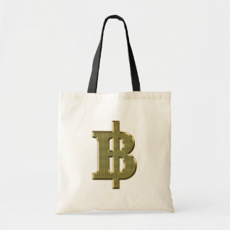 GOLDEN BAHT SIGN ฿ Thai Money Currency ฿ Canvas Bag