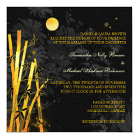 Golden Bamboo Black & Gold Wedding Invitations