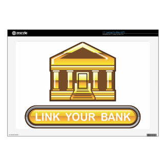 Golden bank Link Your Bank Button Glossy Decals For Laptops
