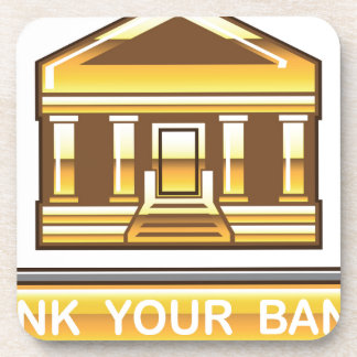 Golden bank Link Your Bank Button Glossy Drink Coaster