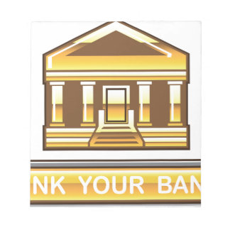Golden bank Link Your Bank Button Glossy Note Pad