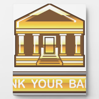 Golden bank Link Your Bank Button Glossy Plaque