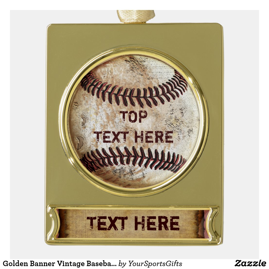 Golden Banner Vintage Baseball Ornaments Two TEXT