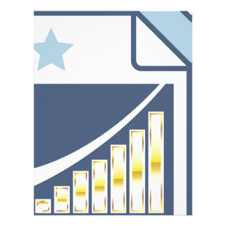 Golden Bar chart on Paper sheet Icon