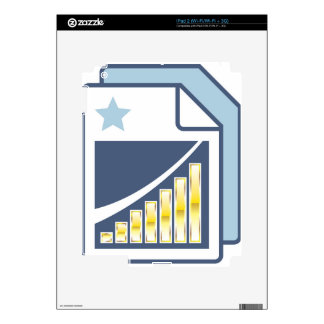 Golden Bar chart on Paper sheet Icon Decal For The iPad 2