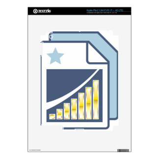 Golden Bar chart on Paper sheet Icon Decals For iPad 3