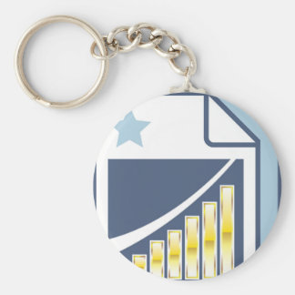 Golden Bar chart on Paper sheet Icon Keychain