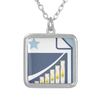 Golden Bar chart on Paper sheet Icon Square Pendant Necklace
