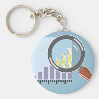 Golden bar graph increase Magnifying glass Keychain