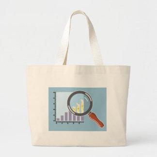 Golden bar graph increase Magnifying glass Large Tote Bag