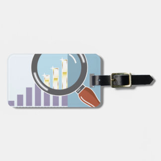 Golden bar graph increase Magnifying glass Luggage Tag