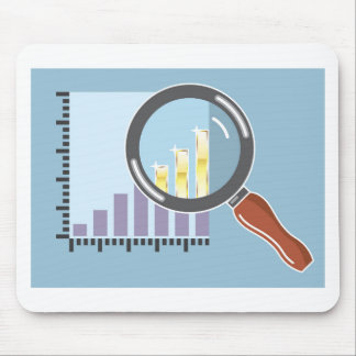Golden bar graph increase Magnifying glass Mouse Pad