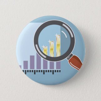 Golden bar graph increase Magnifying glass Pinback Button
