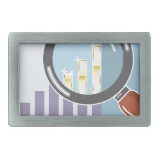 Golden bar graph increase Magnifying glass Rectangular Belt Buckle