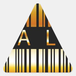 Golden barcode triangle sticker