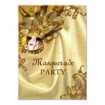 Golden Baroque Masquerade Party 4.5x6.25 Paper Invitation Card