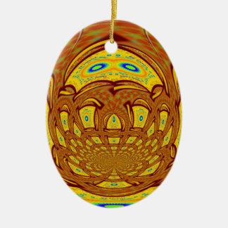 Golden Baseball Glove Ceramic Ornament