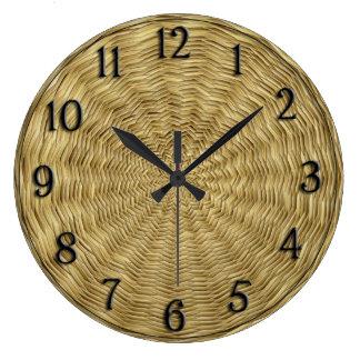 Golden Basket weave Circular Pattern Large Clock