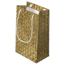 Golden Basket Weave Design Small Gift Bag