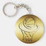 GOLDEN BASKETBALL HOOP BASIC ROUND BUTTON KEYCHAIN